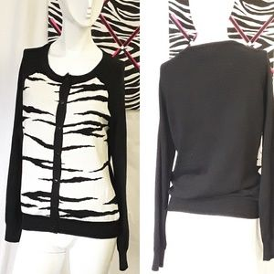 Forever 21 zebra button down cardigan